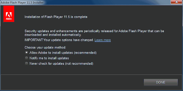 flash update options